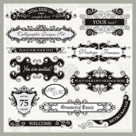 Illustration for Vintage Ornamental Frames and Sign Designs - Royalty Free Image
