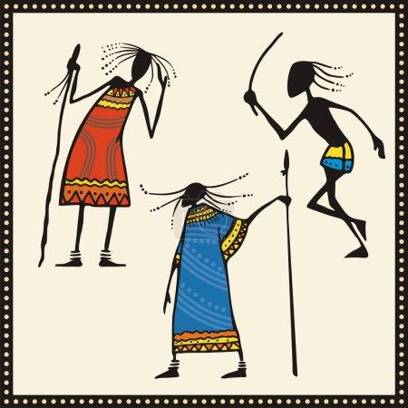 Vector African Warriors Set