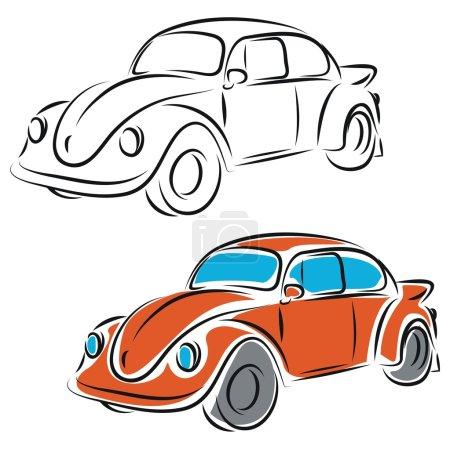 Illustration pour Illustration vectorielle de voiture rétro - image libre de droit