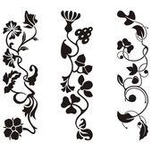 Návrhy okrasných vlys s květinovými detaily, vektorové série
