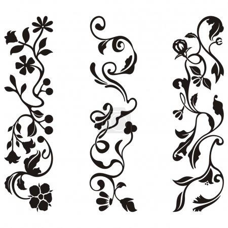 Ornamental frieze designs with floral details, vector series.