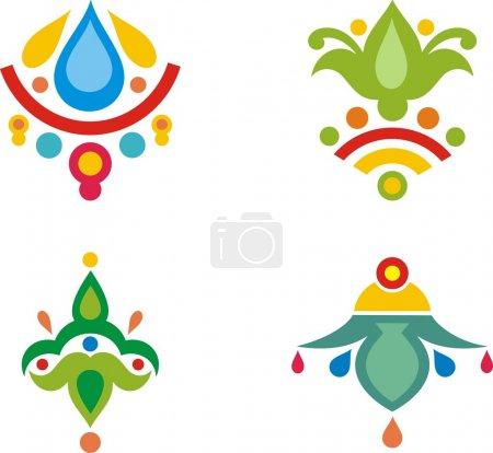 Illustration pour Un ensemble de motifs décoratifs indiens colorés . - image libre de droit