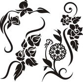 A set of 4 floral design elements