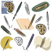 A set of drawing and pencil vector icons in color and black and white renderings