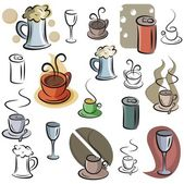 A set of vector icons of drinks in color and black and white renderings