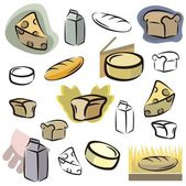 A set of icons of dairy and bread vector icons in color and black and white renderings