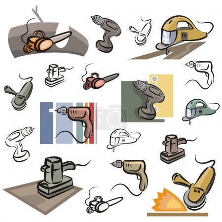 A set of vector icons of power tools in color, and black and white renderings.