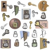 A set of lock and key vector icons in color and black and white renderings