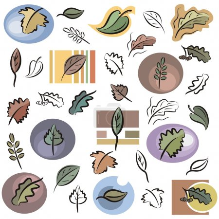 A set of leaf vector icons in color, and black and...