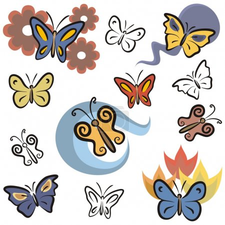 A set of butterfly vector icons in color, and black and white renderings.