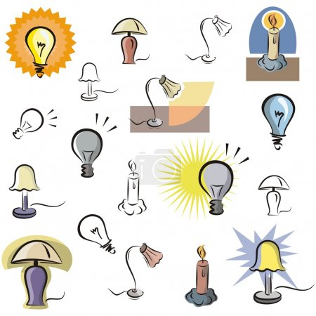 A set of vector icons of lamps and lighting in color, and black and white renderings.