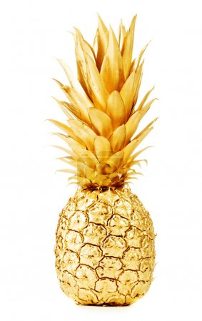 Photo pour Ananas en or isolé sur blanc - image libre de droit