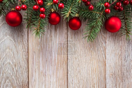 Photo for Christmas border on wooden background - Royalty Free Image