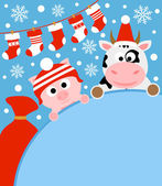 New Year background card with pig and cow