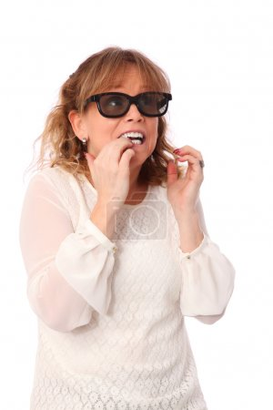 Scared woman watch 3D movie