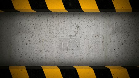 Concrete screen with caution stripes frame