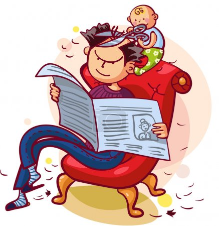 Illustration for Father and son having fun together. Father is reading newspaper, son is making his father a new hairstyle - Royalty Free Image