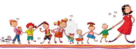 Illustration pour Jeune femme avec des enfants jouant ensemble - image libre de droit