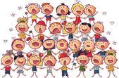 Children сhoir singing vector illustration