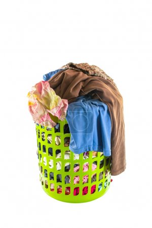 used clothes in  laundry basket