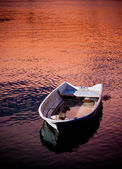 Fishing boat on the river in the sunset.