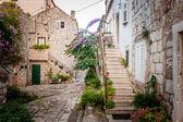 Picturesque small town street view in Mali Ston, Dalmatia, Croat
