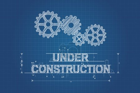 Illustration for Under construction blueprint, technical drawing with gear wheel - Royalty Free Image