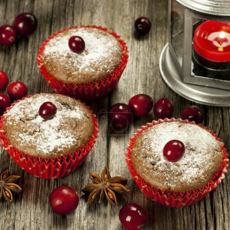Photo for Sweet Christmas muffins with decoration - Royalty Free Image