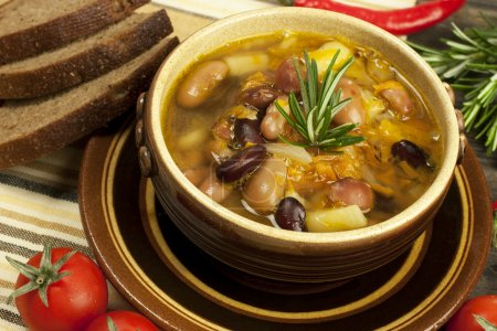 Traditional fresh beans soup in the bowl