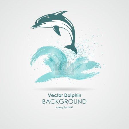 Illustration pour Dauphin dans l'eau éclaboussure bleue - image libre de droit