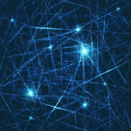 Illustration pour Fond lumineux abstrait vectoriel. À l'intérieur du cerveau - le concept des neurones et du système nerveux. Bleu élégant fond fantaisie - image libre de droit