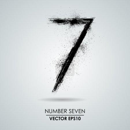 Vector grunge number - seven