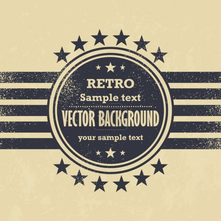 Old vector design - retro label on grunge background