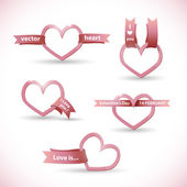 Vector banner in the form of heart with ribbon Valentine's Day