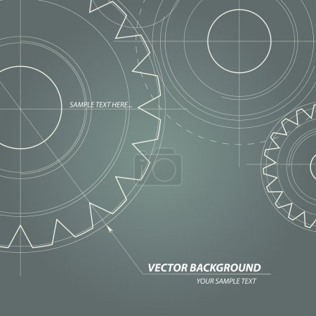 Illustration for Abstract technical drawing. Vectors gears - Royalty Free Image