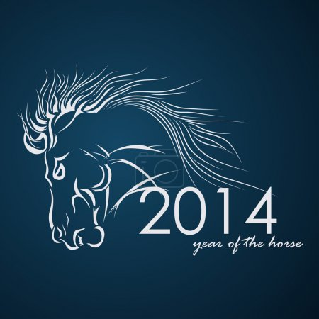 2014 - Year of the Horse. Vector illustration