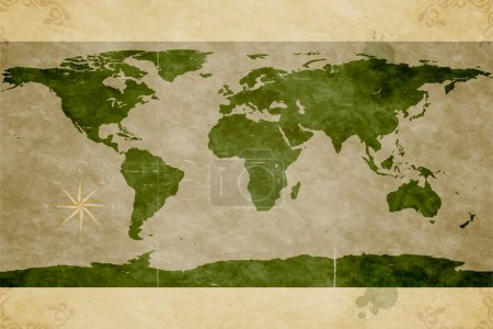 Map of the World. Old paper texture. Grunge effects
