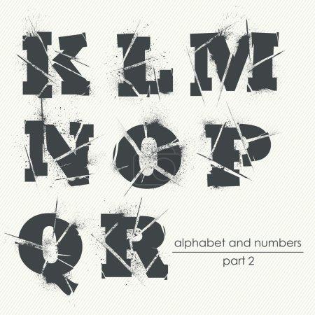 Ragged grunge alphabet with ink splatter