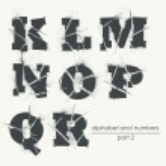 Vector ragged grunge alphabet with ink splatter - ...