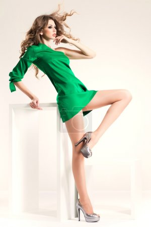 beautiful woman with long sexy legs dressed elegant posing in th