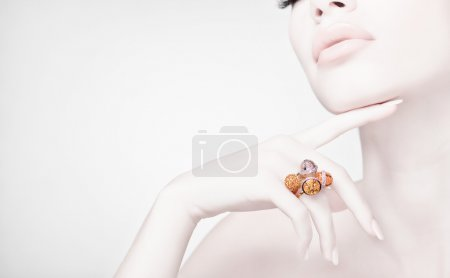beautiful woman wearing jewelry, very clean image with copy spac