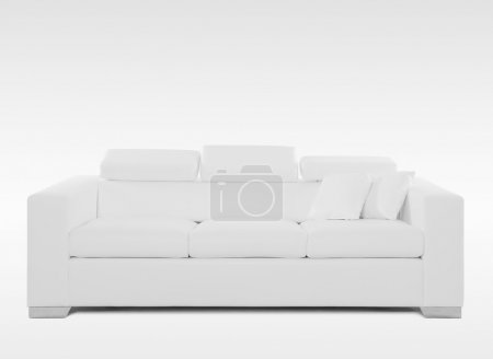 white leather couch isolated on white background