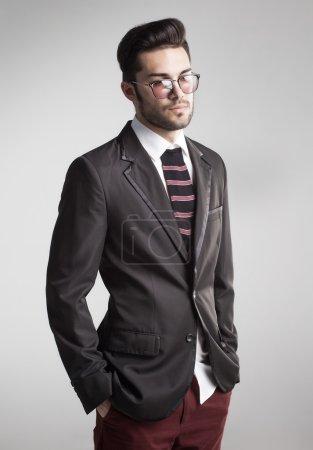 Sexy man dressed elegant with s sock tie