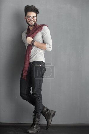 Sexy fashion man model dressed casual posing dramatic