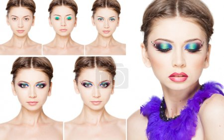 collage of make-up steps on beautiful model isolated on white