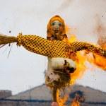 Traditional off winter in Russia, burning effigies...