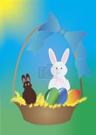 Basket with Easter eggs and bunny - vector illustration.