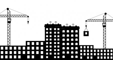 Illustration for Vector illustration of silhouette the construction of city - Royalty Free Image