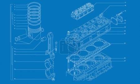 Illustration for Complicated machinery technical drawing of car engine - Royalty Free Image