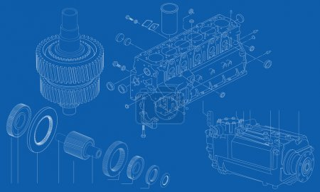 Complicated engineering drawing of car engine sections, vector illustration